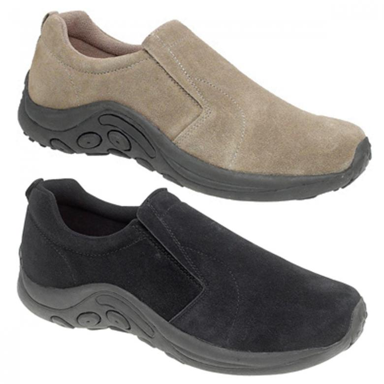 76ecad9196c0 Mens Leather Suede Slip On Comfort Shoes Taupe or Black 6 7 8 9 10 ...