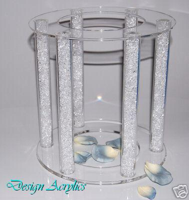 Details About LARGE CLEAR ACRYLIC CAGE WEDDING CAKE STAND 6 PILLARS