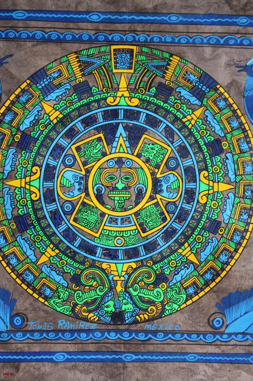 Mexican Calendar Art : New handpainted mexican amate bark aztec calendar art