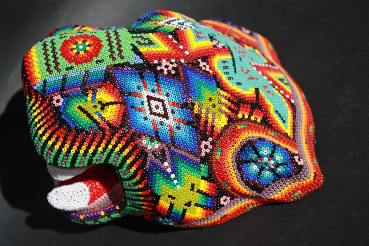 New Big Huichol Jaguar Wood Head Mexican Native Art