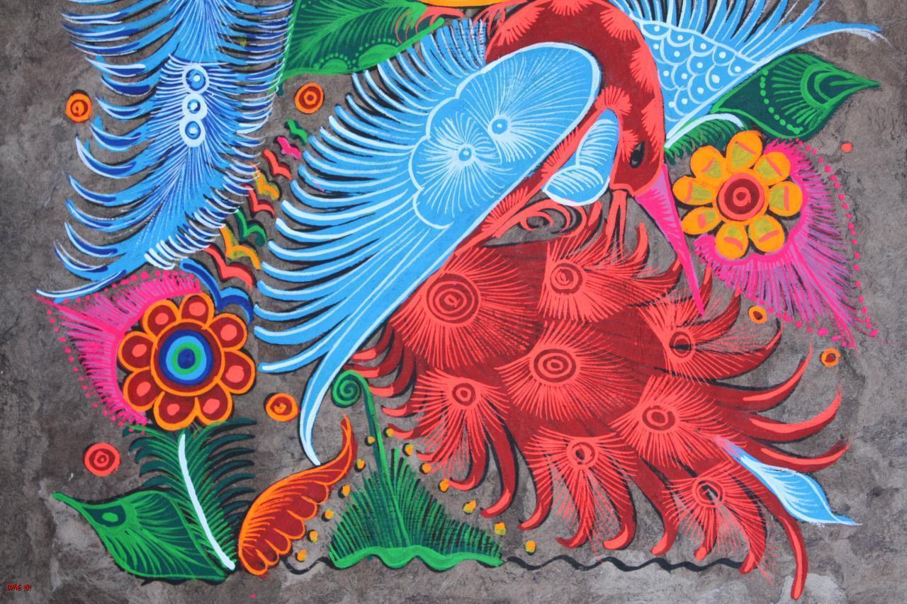Handpainted amate bark painting mexican folk art craft for Folk art craft paint