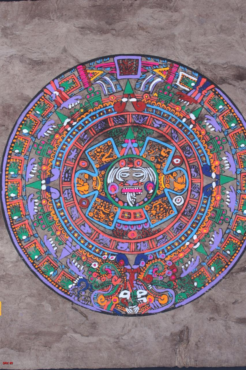 MEXICAN AZTEC CALENDAR AMATE BARK PAINTING ETHNIC ART HOME DECOR WALL