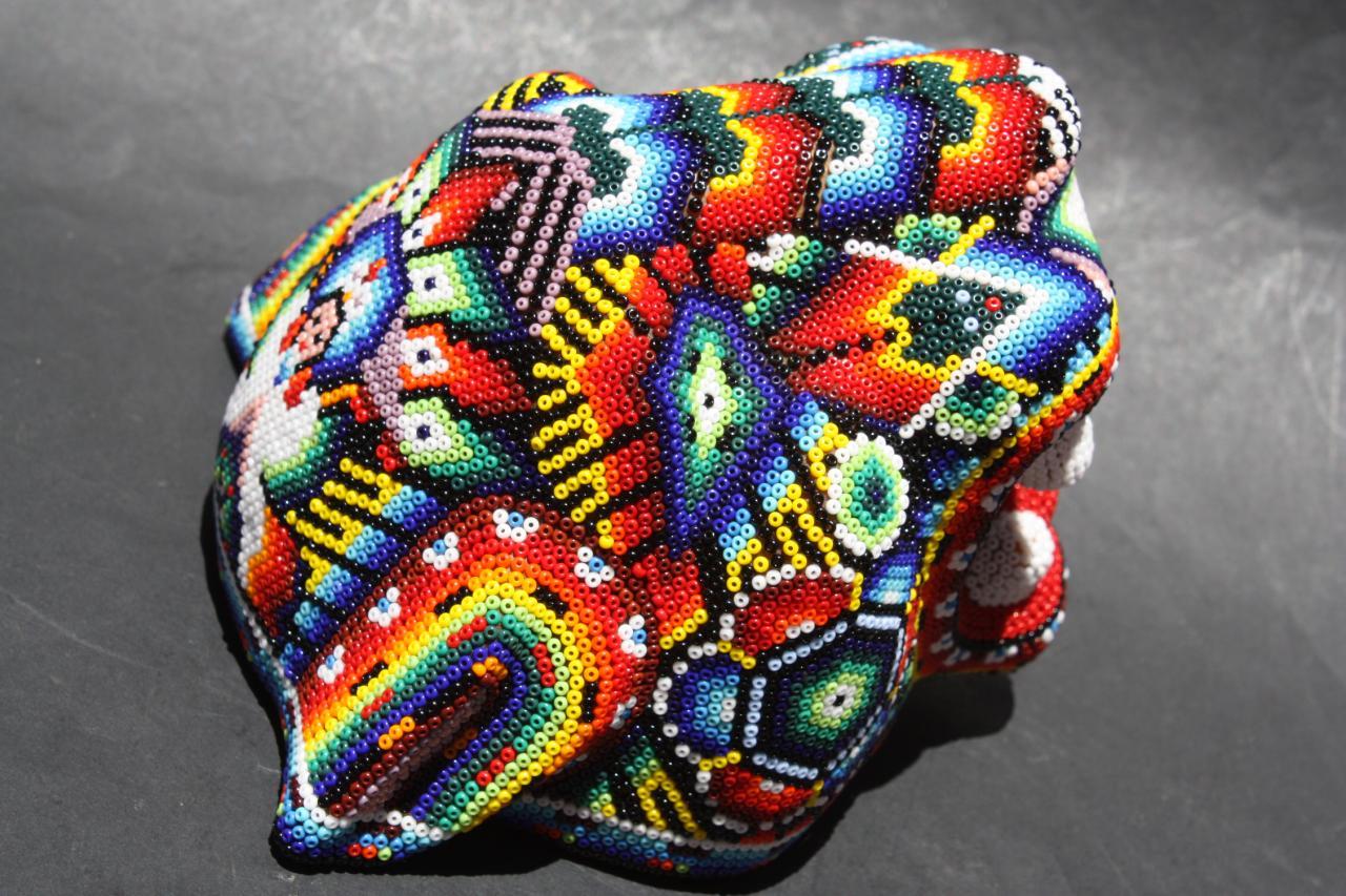 Mexican Huichol Jaguar Head Animal Figure Native Folk Art