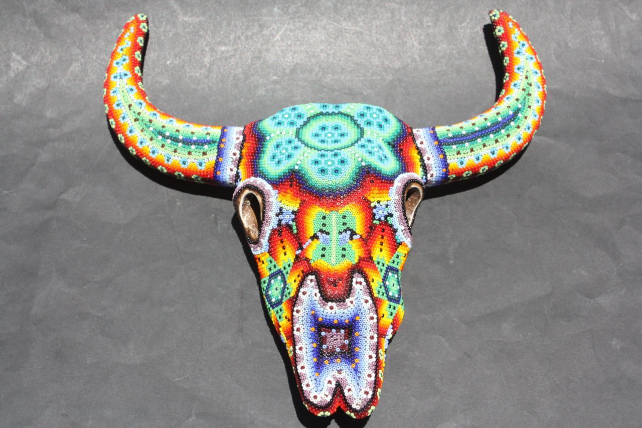 Big Huichol Bull Skull Figure Mexican Native Art Craft