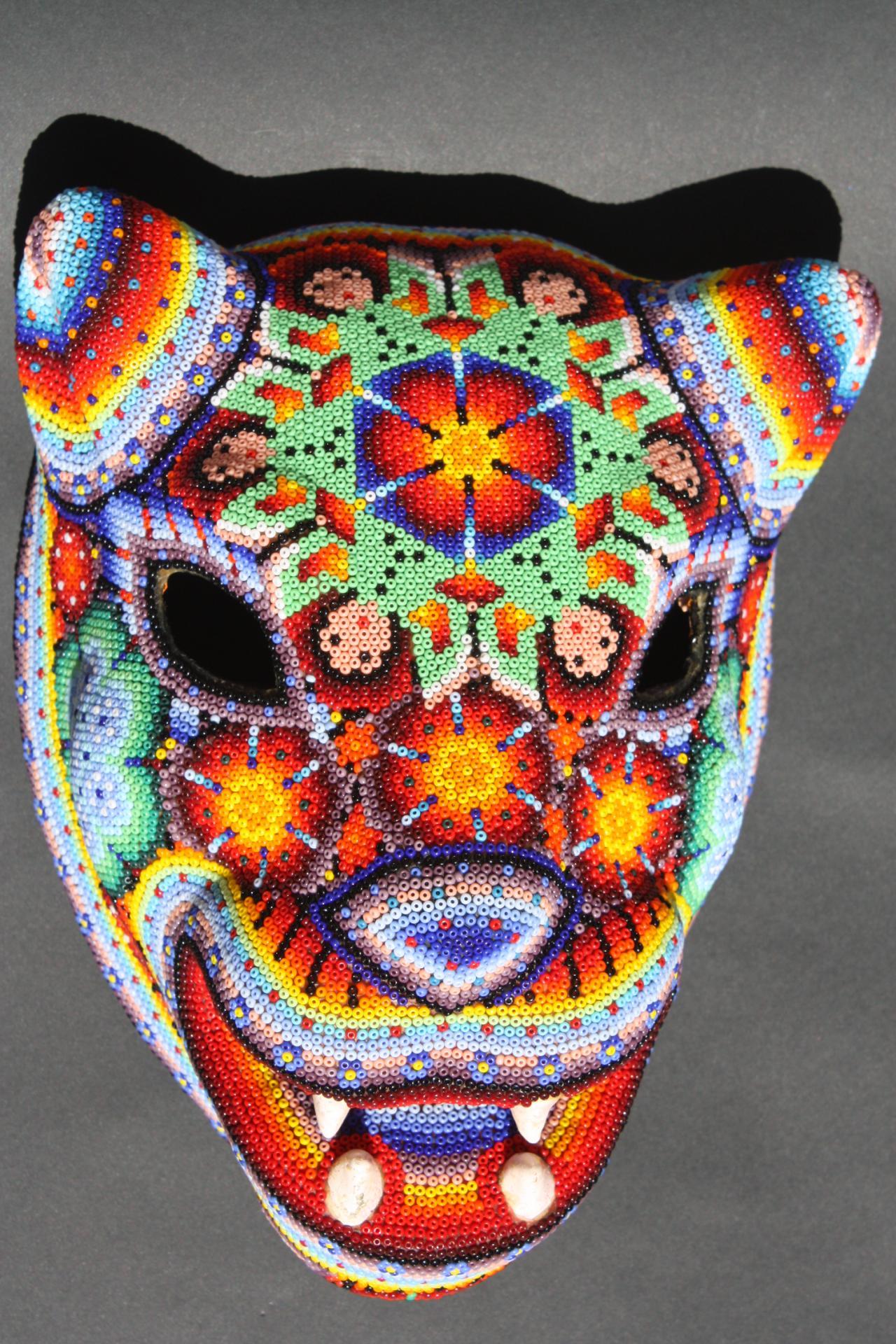 Xl huichol paper mache jaguar mask mexican native ethnic for Paper mache mash