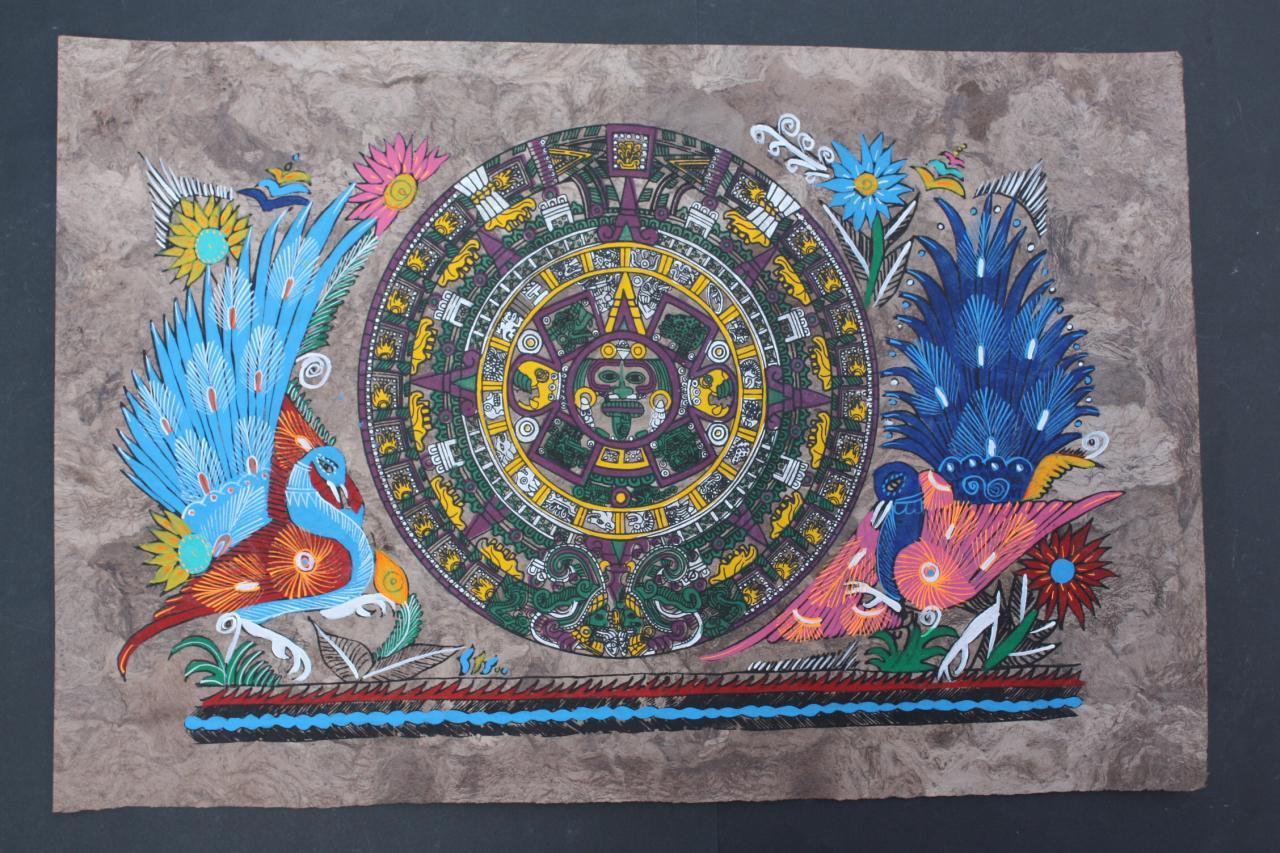 MEXICAN AZTEC CALENDAR AMATE PAINTING NATIVE ART CRAFT