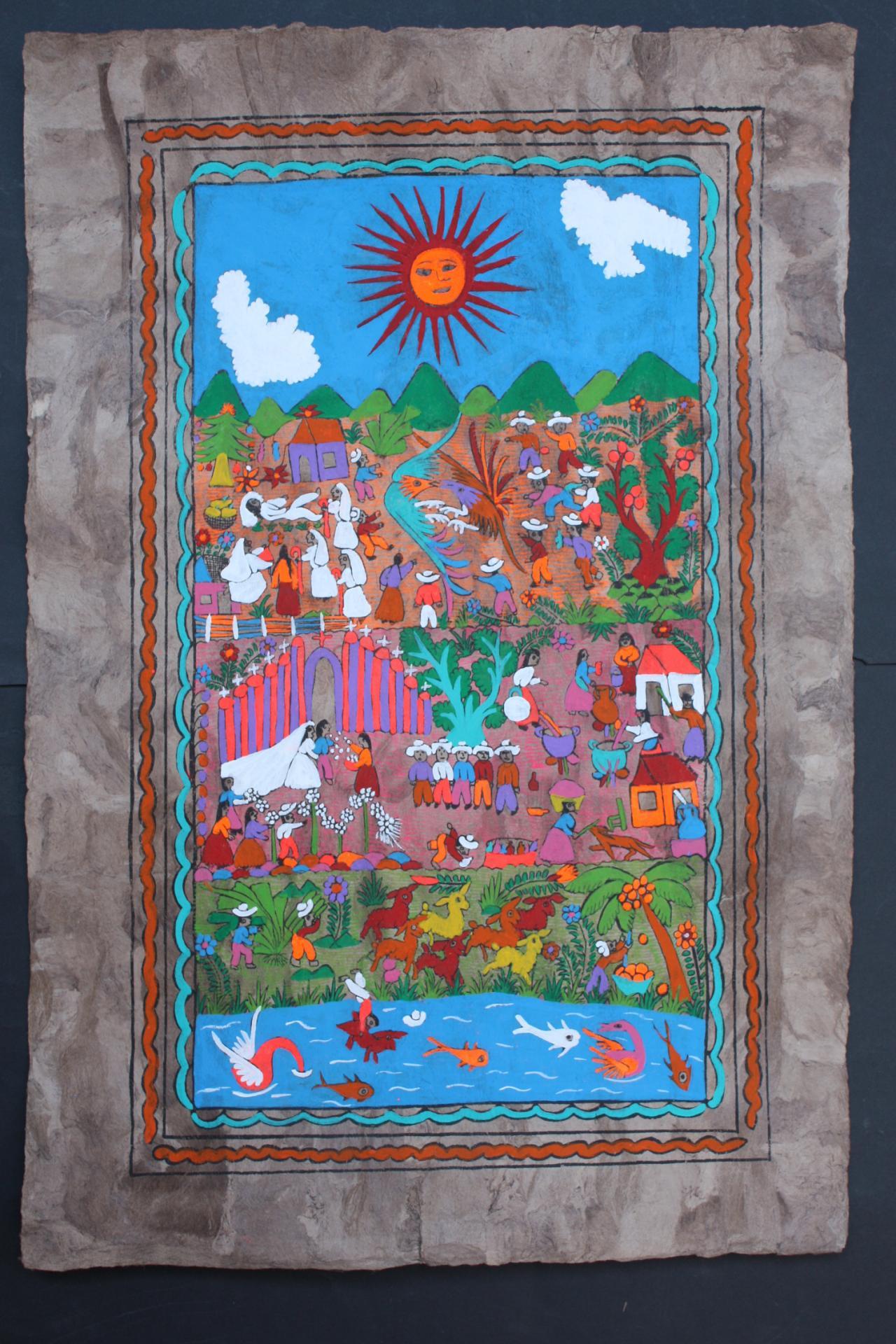 Mexican amate bark painting native ethnic folk craft art for Folk art craft paint