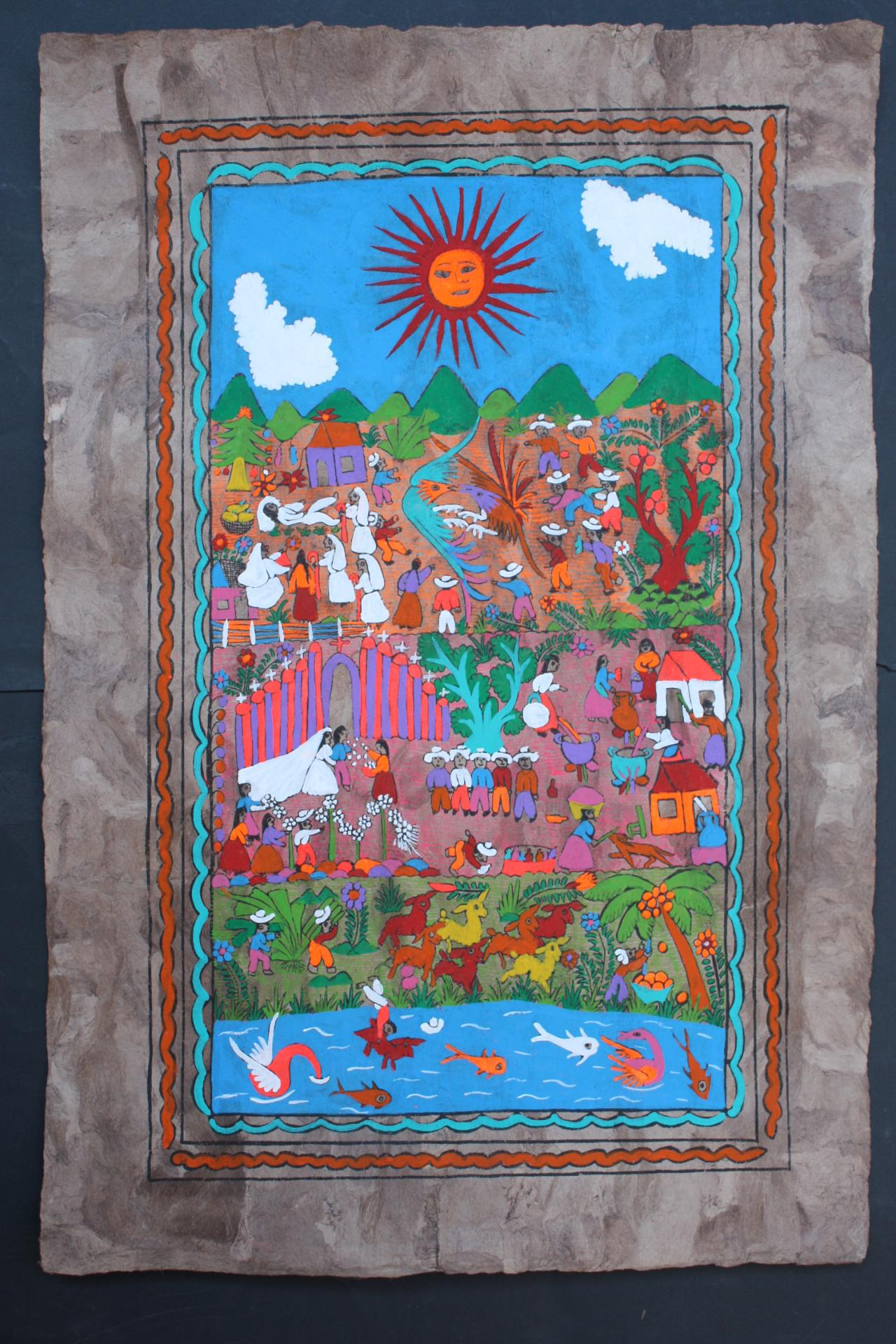 Mexican amate bark painting native ethnic folk craft art for Art craft wall hanging