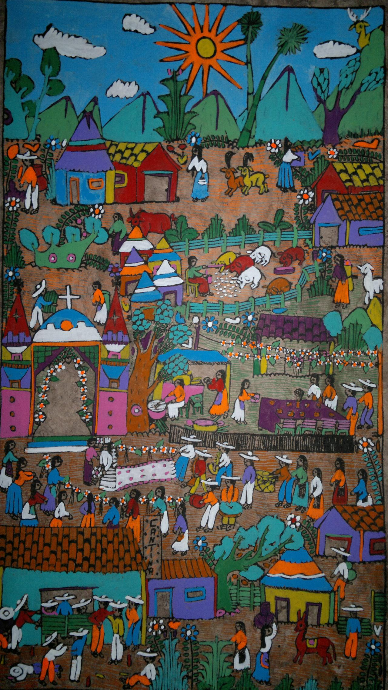 Mexican amate bark painting latin native ethnic folk art for South american decor