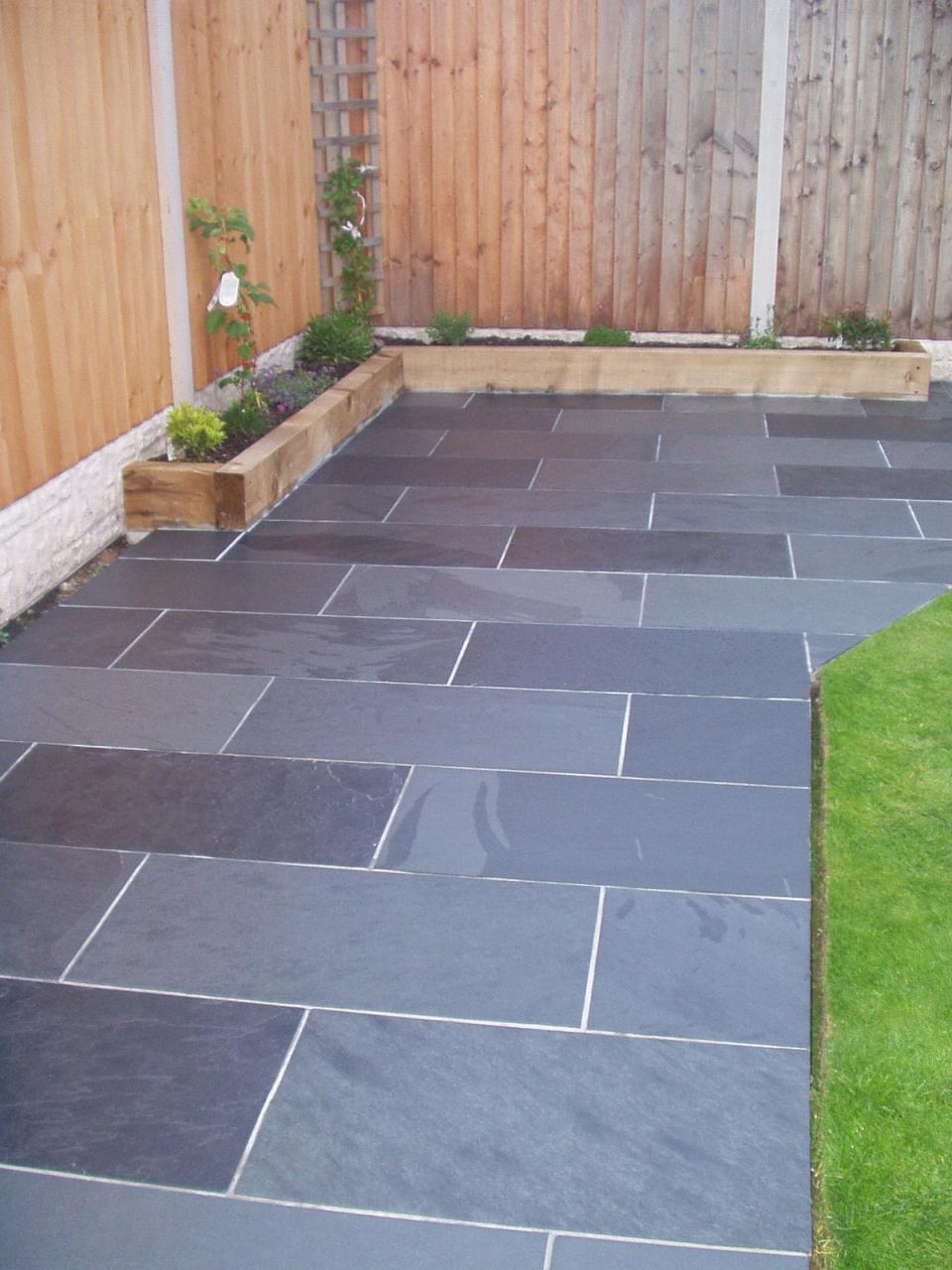 Slate paving garden patio tiles not slabs for Garden decking and slabs
