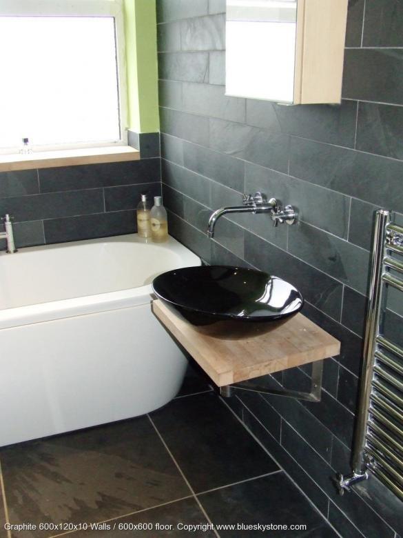 details about black slate stone bathroom kitchen wall floor tiles