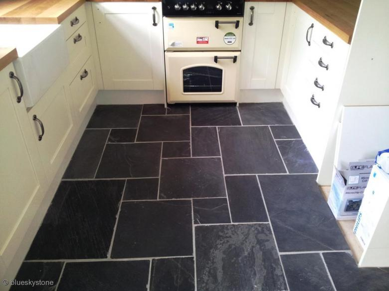 Slate floor flooring wall tiles opus pattern rustic black for Slate floor patterns