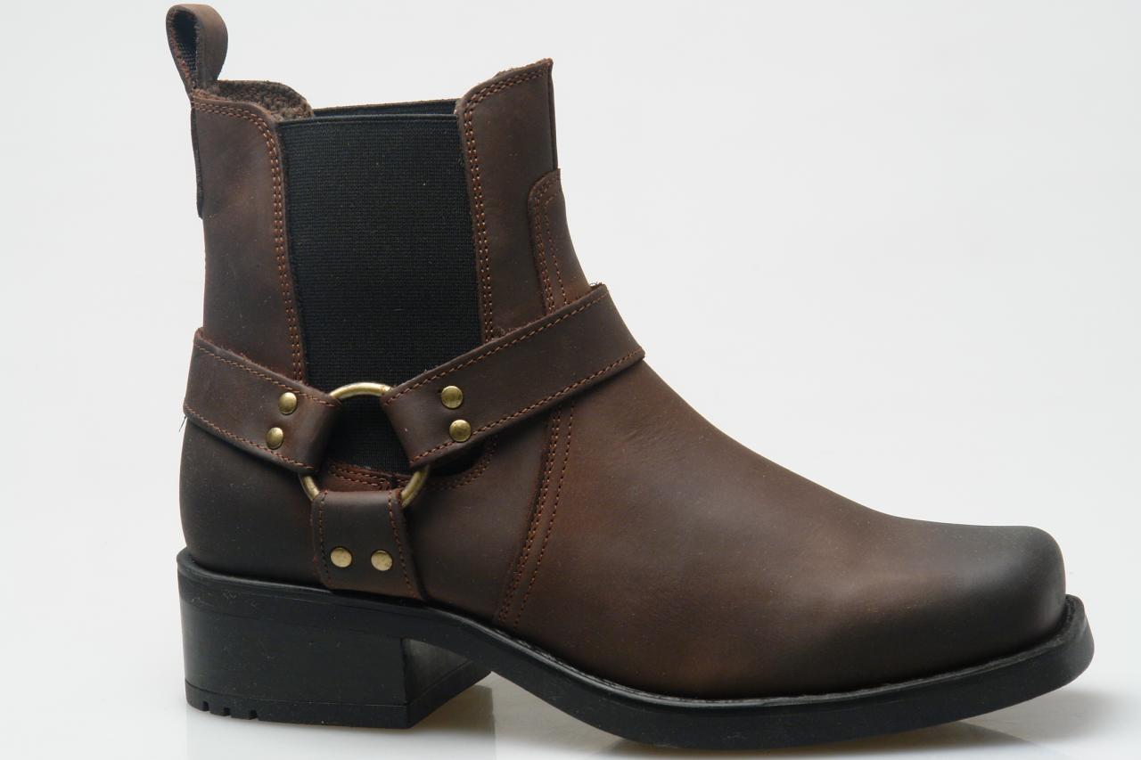 Mens Leather Biker Boots Cowboy Harness Black Brown Size 6