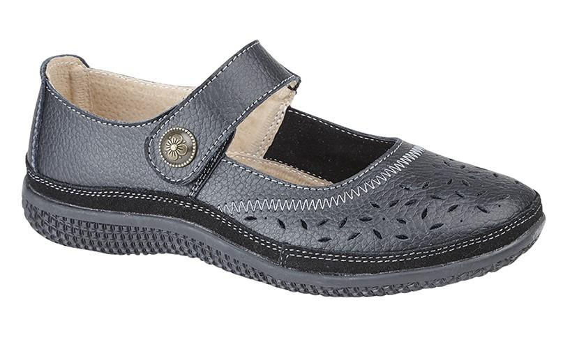 8534f0fc542 Ladies New Black Leather Extra Wide EEE Touch Fastening Casual Comfort Shoes  3 - 9