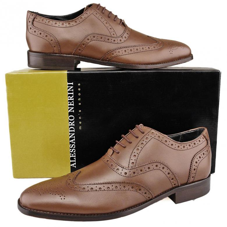 mens new brown leather brogues shoes leather soles size 9