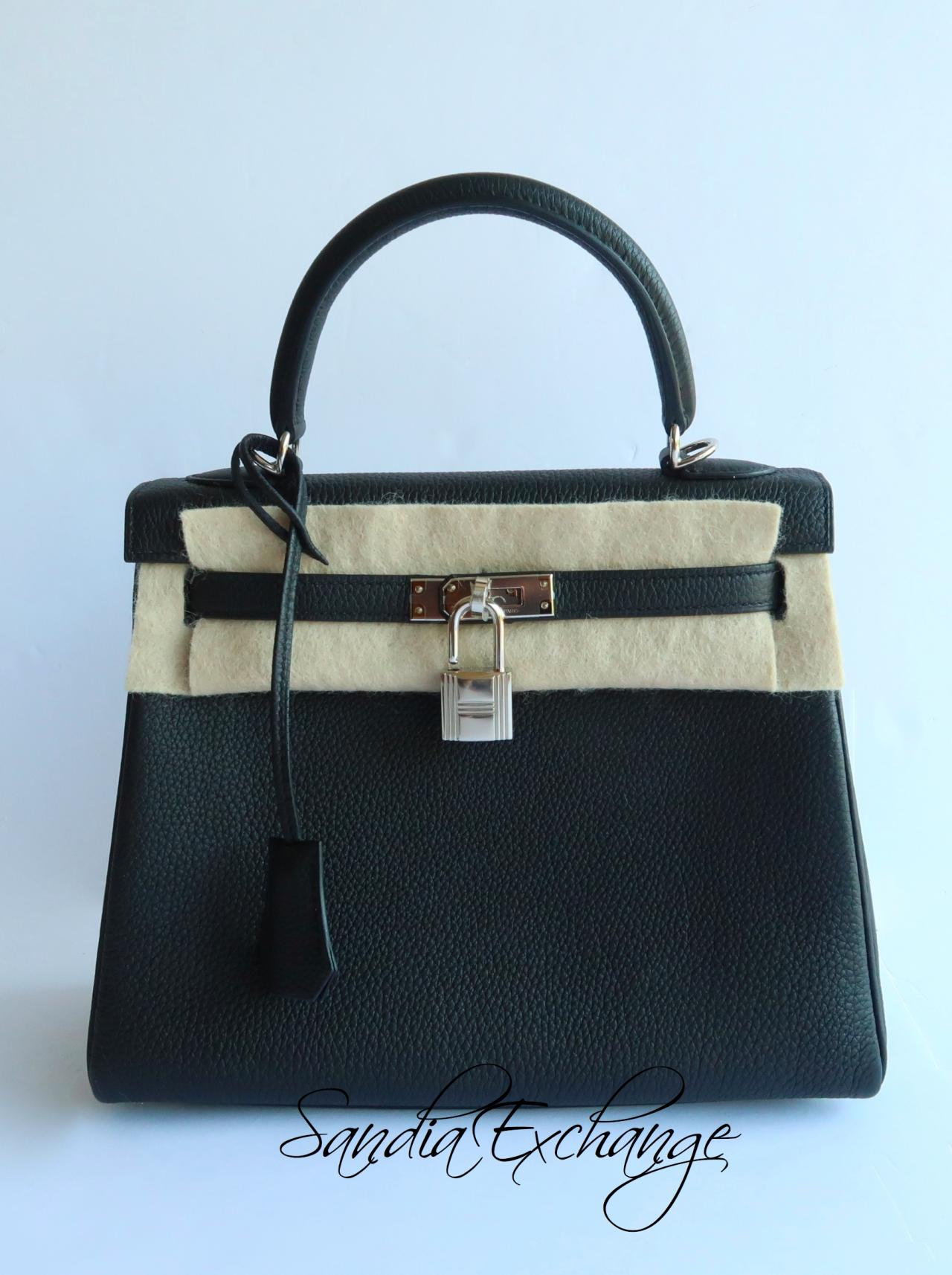 Hermes Kelly 25 cm Black Togo Palladium Hardware Authentic HERMÈS ... 49974cdb9b98b