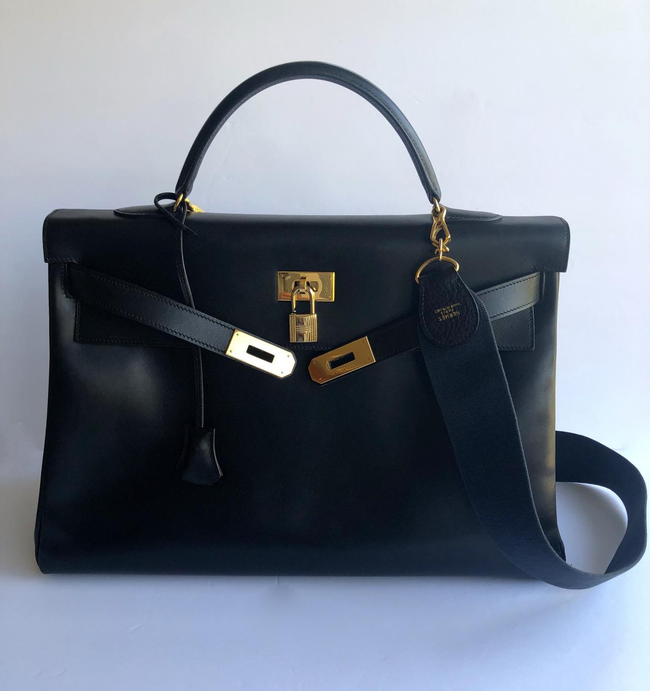 8c684de112 Authentic HERMES Kelly 40 cm Black Noir Box Calf Gold Hardware ...