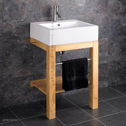 Awesome Verona Ceramic Belfast Floor Mounted Basin With Wooden Stand And Tap