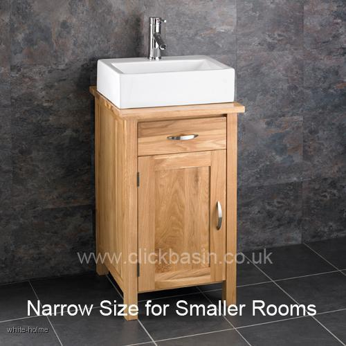 Solid Oak Ohio Narrow Bathroom Sink Cabinet With Ceramic Basin Tap Waste SE