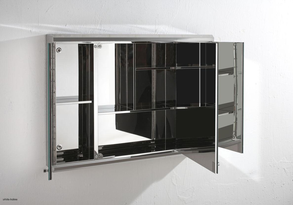 Stainless steel triple door bathroom mirror wall storage for Stainless steel bathroom cabinet