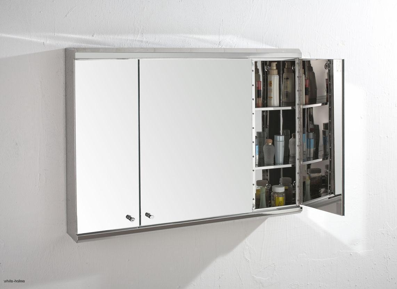 stainless steel triple door bathroom mirror wall storage