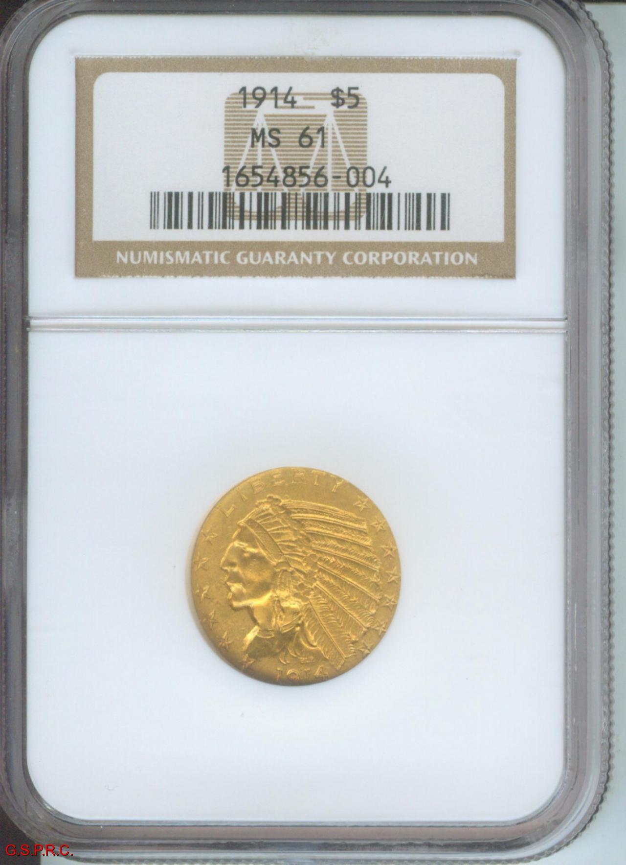 US Gold $5 Indian Head Half Eagle Random Date NGC MS61