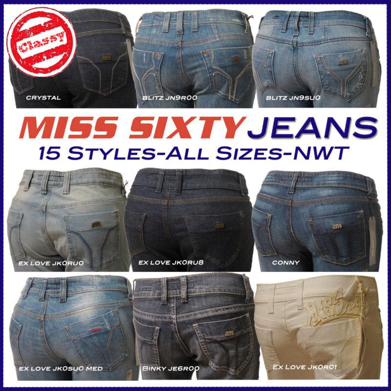 15 Styles! MISS SIXTY 60 Womens Designer Jeans