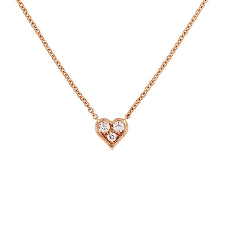 Tiffany Co Heart 3 Point Diamond Rose Gold Necklace Ebay