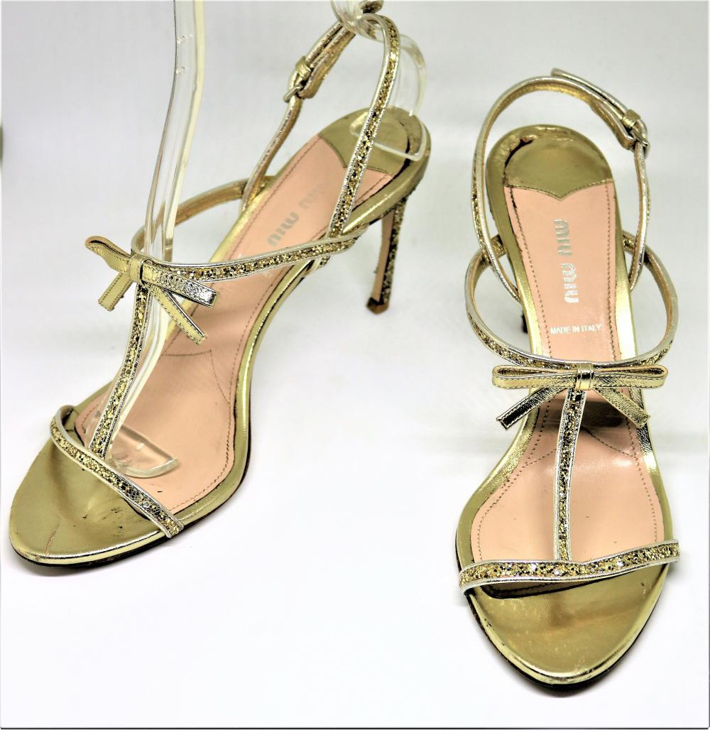 463b3c56aeb7 Miu Miu Glitter 2 T-Strap Pirite Metallic Leather Sandal sz 10 40.5 ...