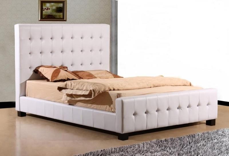crystal diamante 4ft small double white leather bed ebay. Black Bedroom Furniture Sets. Home Design Ideas