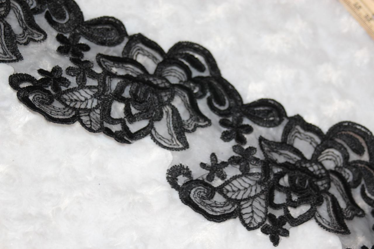 """1 yard Black poly scalloped organza embroidered wedding sewing Trim 4/"""" wide v4"""