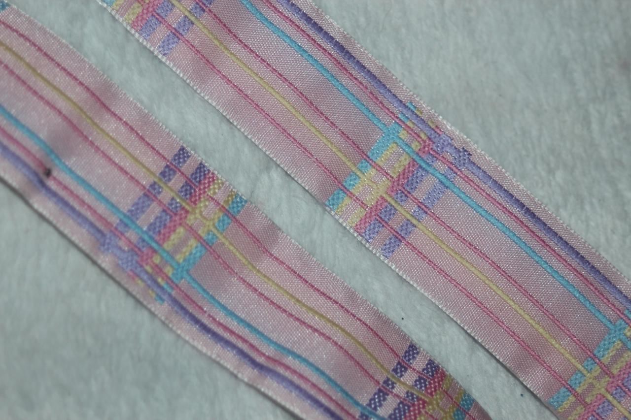 """5 yards pink mint lavender pastel plaid woven satin jacquard ribbon trim 1/"""""""