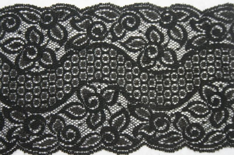 "1 yard BLACK galloon Floral lingerie stretch sewing trim lace 5.75/"" wide #12"