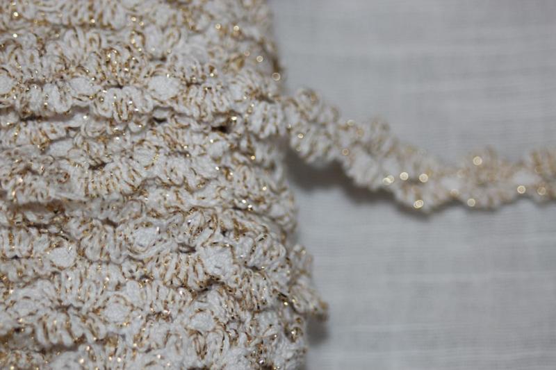 2 Yards 1 Stretch White Metallic Gold Crochet Ruffle Doll