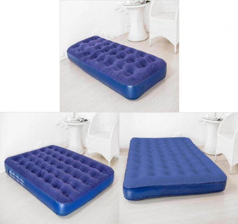 inflatable flocked air bed single double king size guest camping mattress ebay. Black Bedroom Furniture Sets. Home Design Ideas
