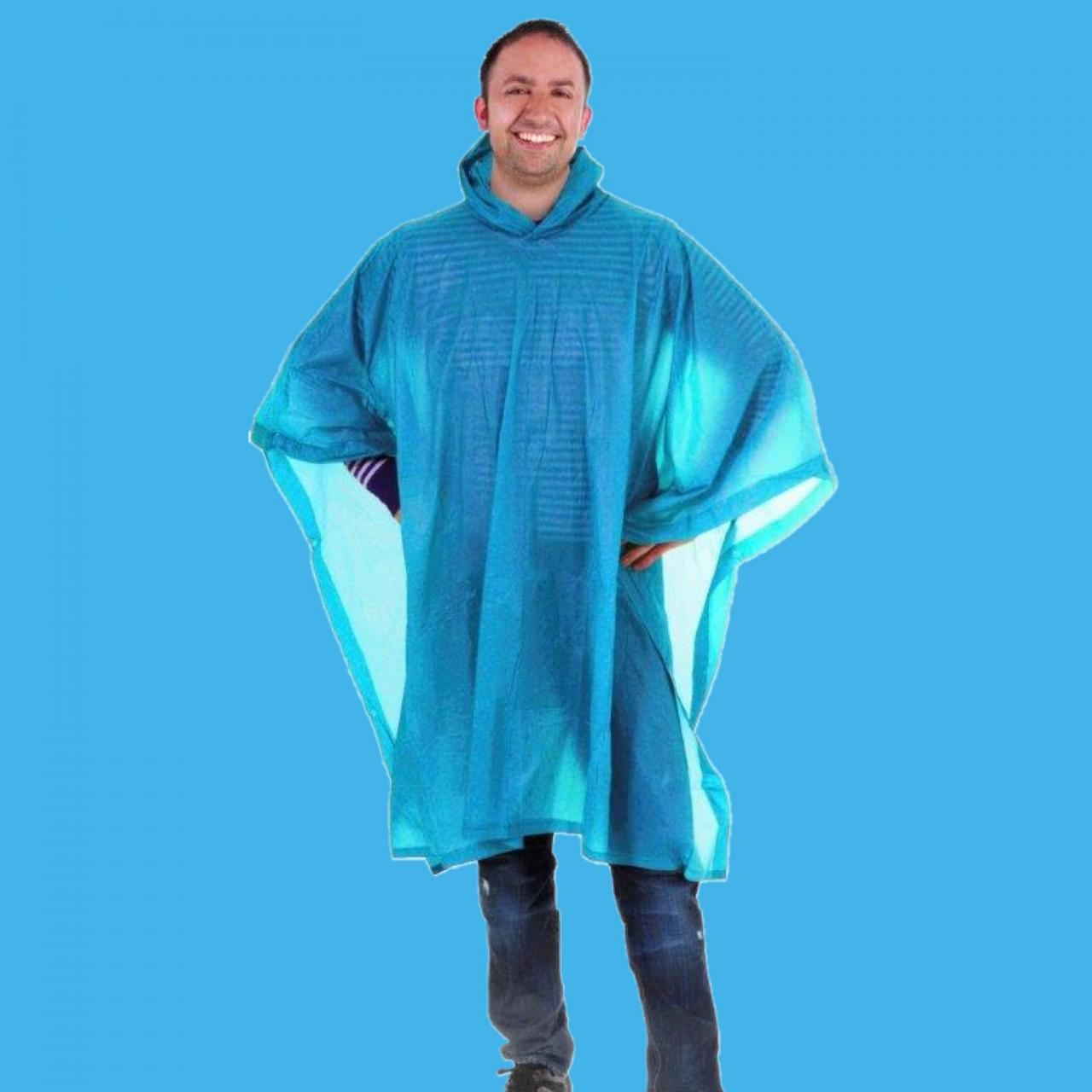 Light blue rain poncho