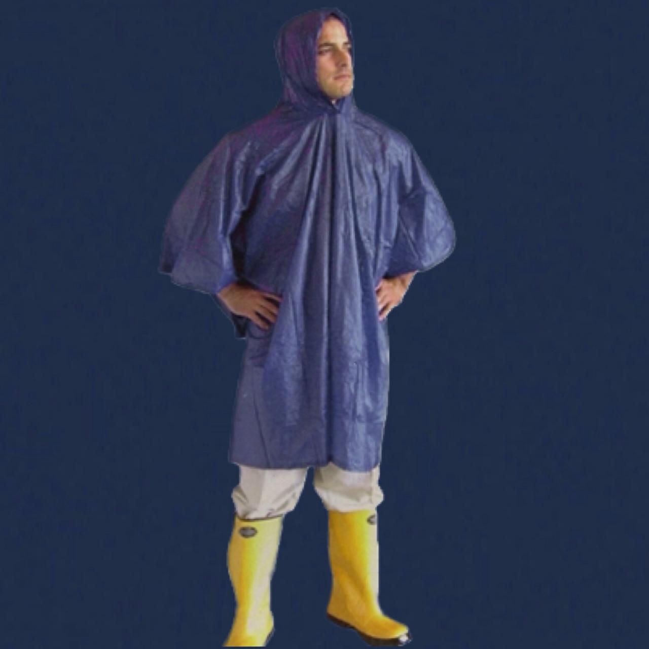 Dark blue rain poncho