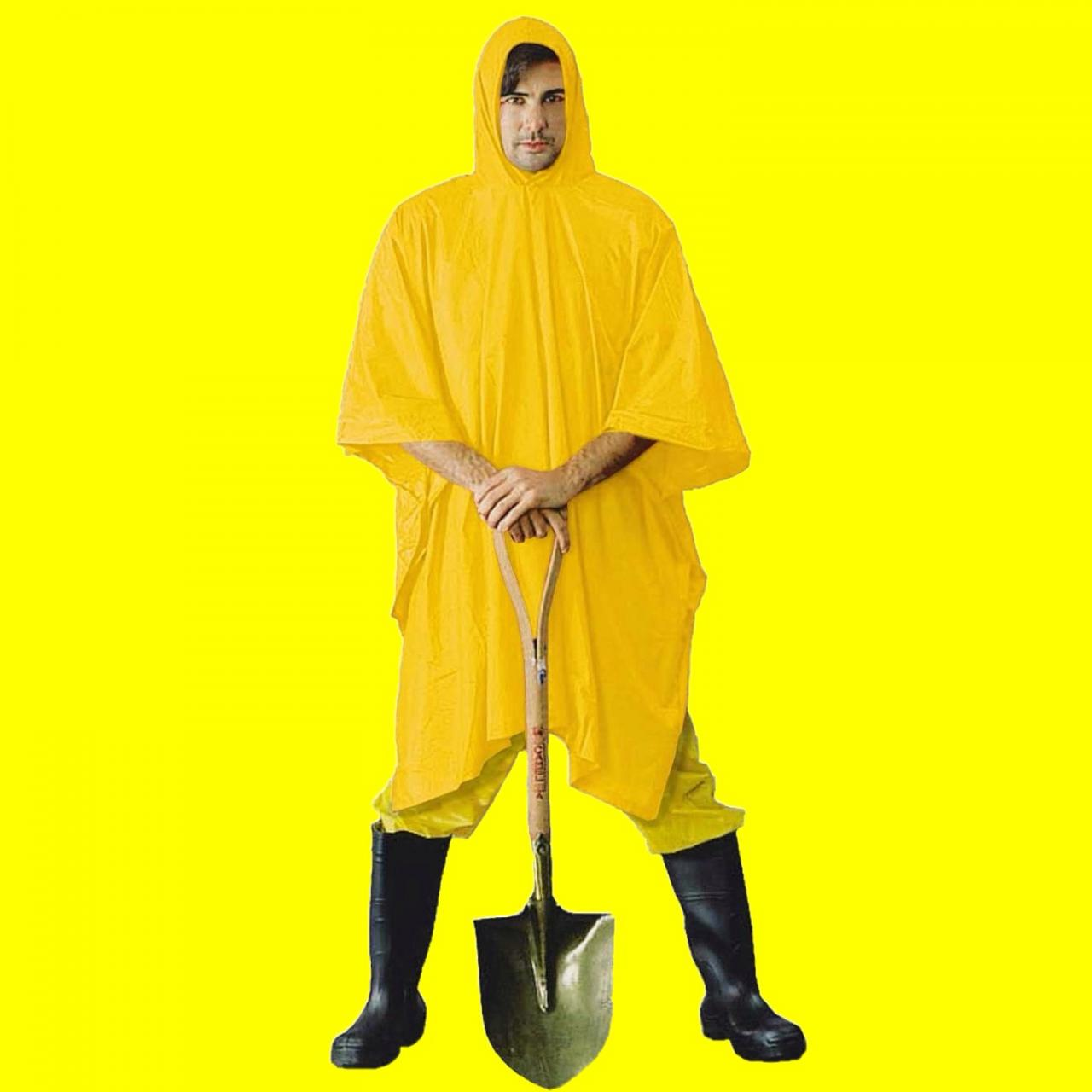 Yellow rain poncho