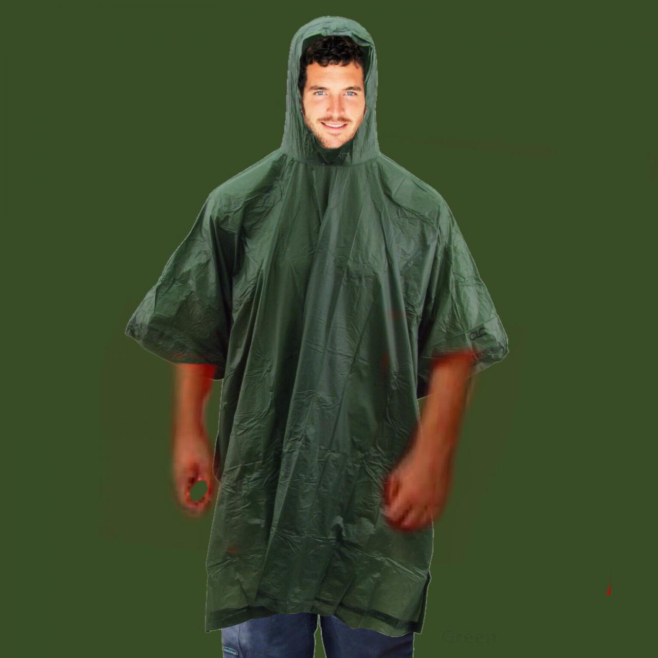 Army green rain poncho