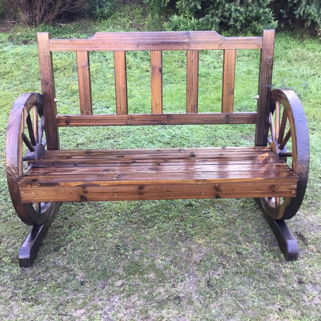 Wooden Garden Bench Timber Outdoor Patio Park Wagon Wheel