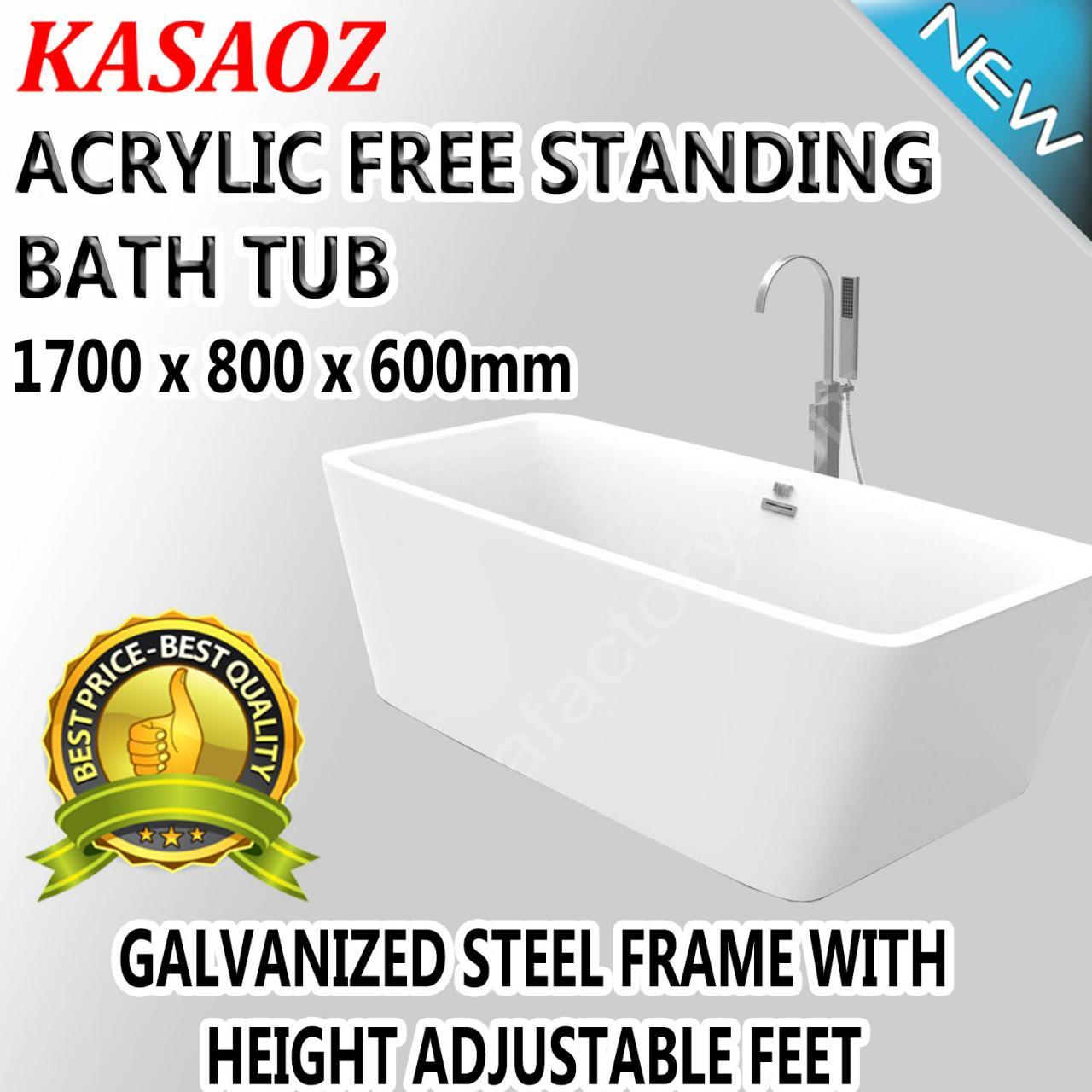 GARDA Free Standing Luxury Acrylic Bathtub Bathroom WHITE 1700 x 800 ...