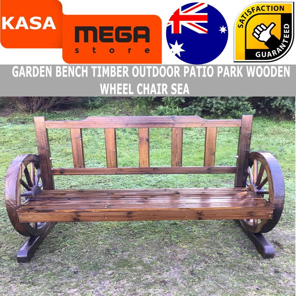 Garden Bench Timber Outdoor Patio Park Wooden Wagon Wheel