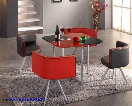 black red glass dining table 4 faux leather chairs space. Black Bedroom Furniture Sets. Home Design Ideas
