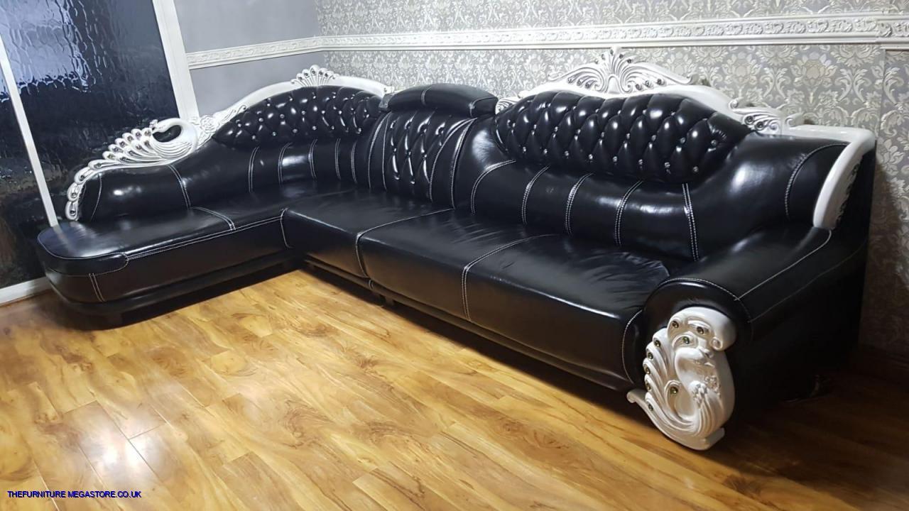 Designer Italian Leather Corner Head Sofa Chaise BlackC ...