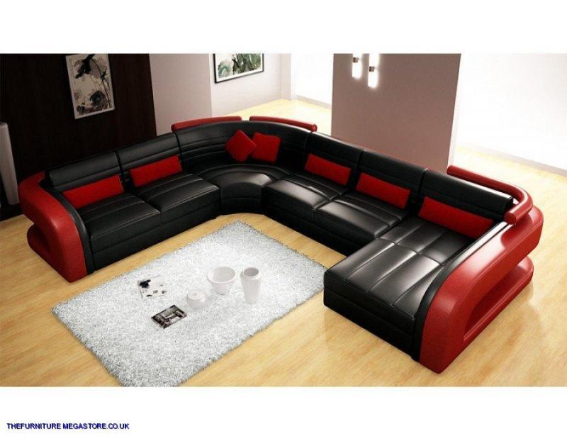Dynamic Italian Leather Corner Sofa Black And Red Ebay