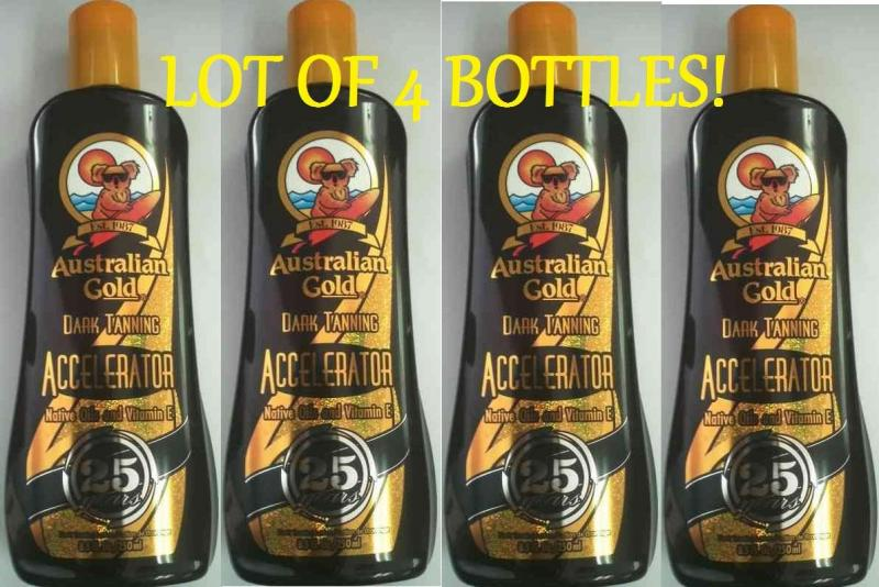 Lot Of 4 Bottles Australian Gold Dark Tanning Accelerator