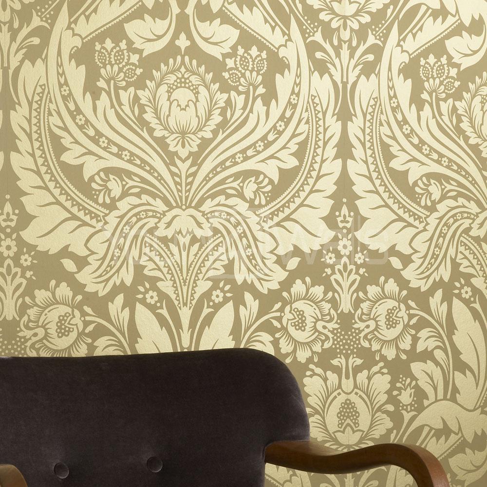 Metallic Gold Damask Wallpaper
