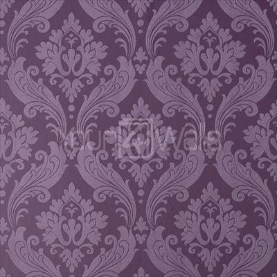designer damask wallpaper vintage flock purple colour