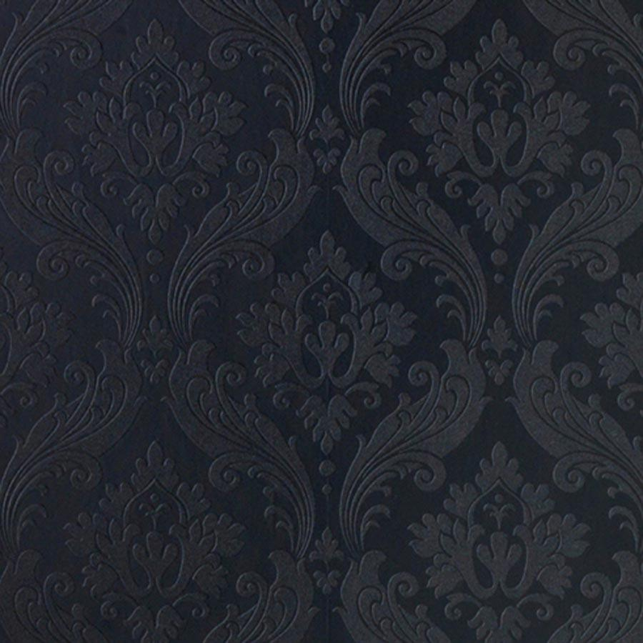 Designer damask wallpaper 39 vintage flock 39 in black for Schwarze barock tapete