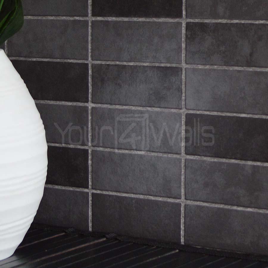 'Porcelain Tile' Brick Tile effect wallpaper in Black